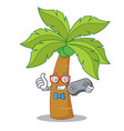 gamer palm tree character cartoon vector image vector image