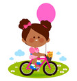 girl riding a bicycle at park vector image