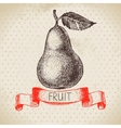 Hand drawn sketch fruit pear Eco food background vector image vector image