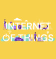 internet things lettering cartoon flat iot vector image vector image