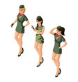 isometry girl 3d sexy girls in military uniform vector image