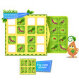 kids sudoku game insects vector image vector image