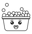 laundry pot with foam kawaii character vector image vector image