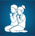 little boy and girl praise god prayer christian vector image vector image