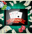 online casino poster modern mobile tablet vector image vector image