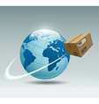 planet earth and a cardboard box vector image vector image