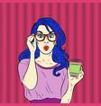 pop art surprised blue hair woman face vector image vector image