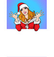 santa woman showing okay gesture with background vector image vector image