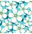 seamless pattern with blue white cherry blossom vector image vector image