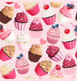 seamless pattern with pastel pink cupcakes vector image