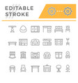 set editable stroke line icons furniture vector image