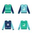 set of ugly christmas sweaters with snowflakes vector image vector image
