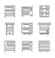 Stoves and ovens thin line icons vector image vector image