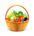 vegetables in wicker basket isolated vector image vector image