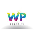 wp w p colorful letter origami triangles design vector image vector image
