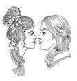 young couple romance coloring page vector image vector image