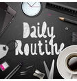 Daily routine modern office supplies vector image