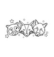 line cute wild animal head together vector image