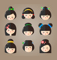 japanese kokeshi dolls heads icons vector image