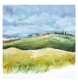 Field and forest Watercolor background vector image