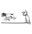 a dog watching another dog burying a bone vintage vector image vector image