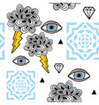 abstract seamless pattern with eyes in the sky vector image vector image