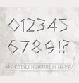 ancient greek letters chiseled in marble vector image