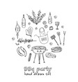 bbq party set menu doodle icons vector image vector image