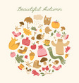 beautiful autumn round composition vector image vector image
