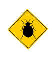 Bed bug warning sign vector image