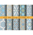 Blue Yellow Kaleidoscopic Patterns Set vector image vector image