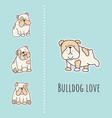 bulldog card vector image