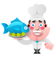 chef with fish on a tray on white background for vector image vector image