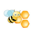 cute bee character and beehive on white background vector image vector image