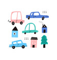 cute cartoon motor cars houses and tree vector image vector image