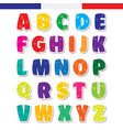 cute funny childish french alphabet font vector image vector image