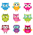 Cute owls set vector image vector image