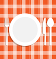 Cutlery dish on orange tablecloth vector image vector image