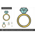 diamond ring line icon vector image vector image