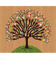 Diversity Tree hands over wooden pattern vector image vector image