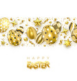 Easter backgrround with realistic golden decorated
