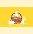 easter rabbits with easter eggs in basket vector image