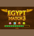 egyptian match3 on background and jewels icons vector image vector image