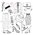 Fashion clothes and accessories set Summer vector image vector image