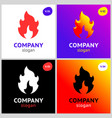 fire flames new colored set on gradient vector image vector image