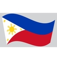 Flag of the Philippines waving on gray background vector image vector image