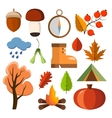Flat forest icon set Autumn forest flat icons vector image vector image