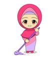 floor cleaning tool cute muslim children cartoon vector image vector image