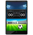 football match news on tablet screen isolated vector image