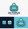 fun little cute smiling happy octopus in glasses vector image vector image